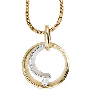 Anhänger rund 585 Gold Gelbgold Weißgold bicolor 1 Diamant Brillant 0, 10ct. - Vorschau 3