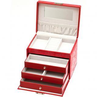 Davidt's Schmuckkoffer Schmuckkasten rot Schloss Spiegel Schubladen abschließbar