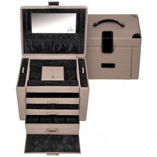 Sacher Schmuckkoffer Schmuckkasten LEDRO taupe schwarz Uhrenfach Schloss Spiegel