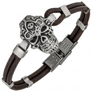 Armband Totenkopf Leder braun und Edelstahl matt 19 cm