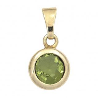 Anhänger rund 585 Gold Gelbgold 1 Peridot grün Peridotanhänger