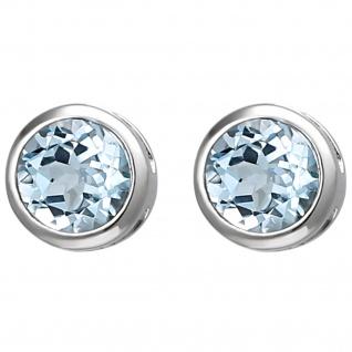 Ohrstecker 925 Silber 2 Blautopase hellblau blau Ohrringe Silberohrringe