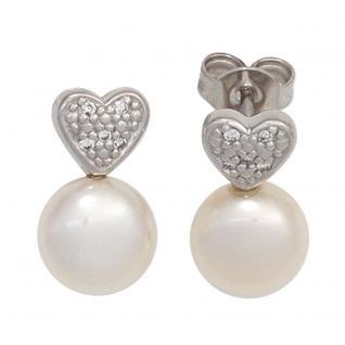 Ohrstecker Herz 585 Gold Weißgold 2 Süßwasser Perlen 10 Diamanten Ohrringe - Vorschau 2