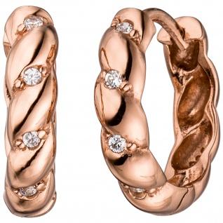 Creolen 925 Sterling Silber rotgold vergoldet mit Zirkonia Ohrringe