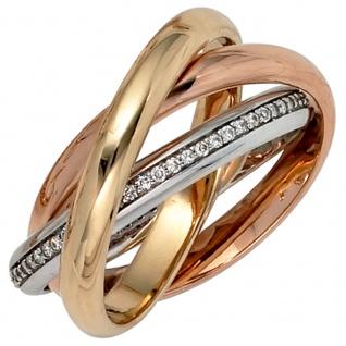Damen Ring verschlungen 585 Gold tricolor dreifarbig 64 Diamanten Brillanten