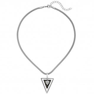 Kette mit Anhänger Dreieck Edelstahl 3 Zirkonia und Kristallsteinen 47 cm