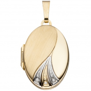 Medaillon oval für 2 Fotos 333 Gold Gelbgold bicolor matt Anhänger zum Öffnen