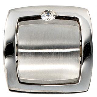 Anhänger quadratisch 950 Platin mattiert 1 Diamant Brillant Platinanhänger