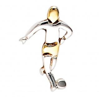 Einzel-Ohrstecker Fußball Fußballspieler 925 Sterling Silber bicolor vergoldet