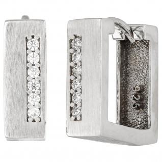 Creolen eckig 925 Silber matt 12 Zirkonia Ohrringe Silbercreolen Silberohrringe
