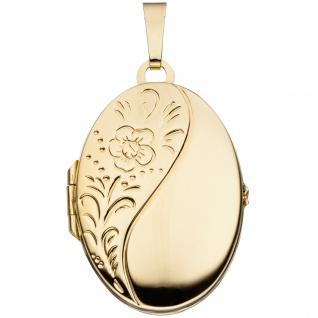 Medaillon oval Blumen 925 Sterling Silber gold vergoldet Anhänger zum Öffnen