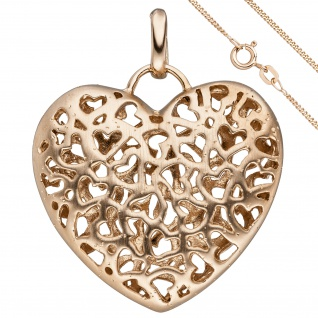 Anhänger Herz 925 Sterling Silber rot gold vergoldet mit Kette 45 cm
