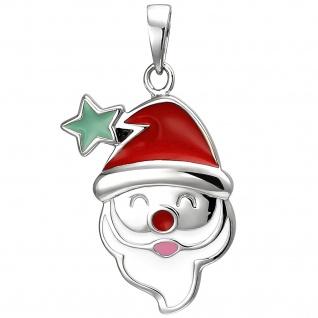 Kinder Anhänger Weihnachtsmann-Kopf 925 Sterling Silber