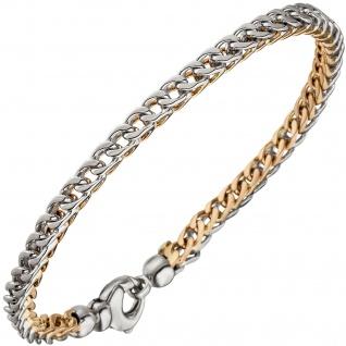 Armband 585 Gold Weißgold Rotgold bicolor 21 cm Goldarmband Karabiner