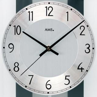 AMS 5262 Wanduhr Funk Funkwanduhr mit Pendel schwarz Pendeluhr Glas Aluminium - Vorschau 2