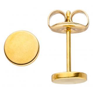 Ohrstecker Studs rund 6 mm Edelstahl gold farben beschichtet