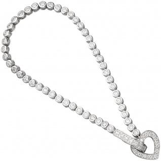 Armband Herz 925 Sterling Silber mit Zirkonia 19 cm Silberarmband - Vorschau 1