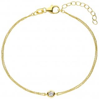 Armband 925 Sterling Silber gold vergoldet 1 Zirkonia 19 cm