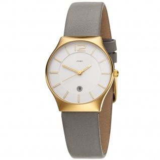 JOBO Damen Armbanduhr Quarz Analog Edelstahl vergoldet Lederband taupe Datum