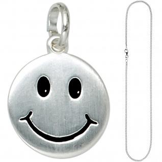 Kinder Anhänger Lächelndes Gesicht 925 Silber Kinderanhänger mit Kette 38 cm - Vorschau 2