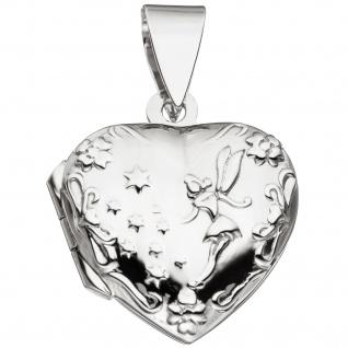 Medaillon Herz für 2 Fotos 925 Sterling Silber Anhänger zum Öffnen - Vorschau 1