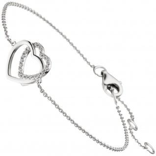 Armband Herz Herzen 925 Sterling Silber 21 Zirkonia 18 cm Silberarmband