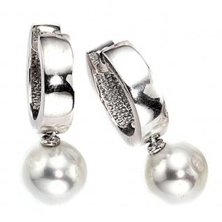 Creolen 925 Silber 2 synthetische Perlen Ohrringe Perlenohrringe