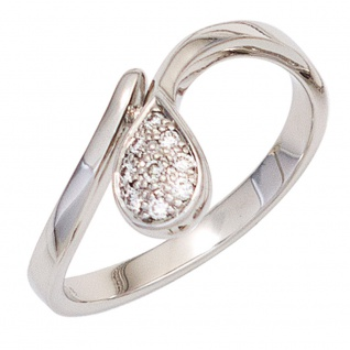 Damen Ring Tropfen 585 Gold Weißgold 9 Diamanten Brillanten 0, 08ct. Weißgoldring - Vorschau