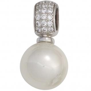 Anhänger 925 Sterling Silber rhodiniert 18 Zirkonia Perlenanhänger