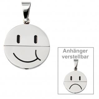 Anhänger Gesicht (lachend oder traurig) Edelstahl schwarze Lackeinlage - Vorschau 2