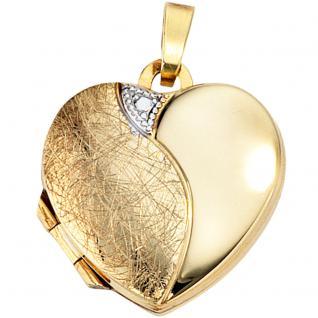 Medaillon Herz 333 Gold Gelbgold eismatt Anhänger zum Öffnen für 2 Fotos - Vorschau 4