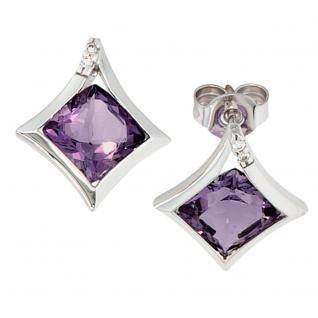Ohrstecker 585 Gold Weißgold 4 Diamanten 2 Amethyst lila violett Ohrringe