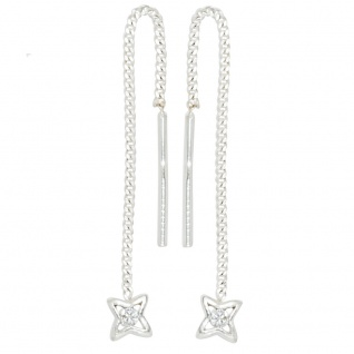 Durchzieh-Ohrhänger Stern 925 Silber 2 Zirkonia Ohrringe zum Durchziehen