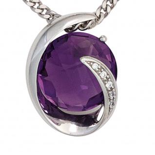 Anhänger 585 Gold Weißgold 1 Amethyst lila violett 5 Diamanten Brillanten 0, 02ct - Vorschau 2