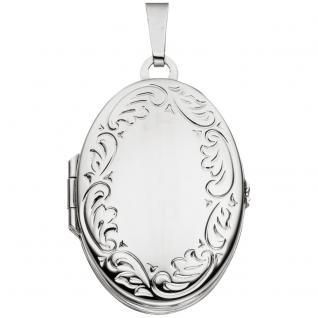 Medaillon oval 925 Sterling Silber rhodiniert Anhänger zum Öffnen für 4 Fotos