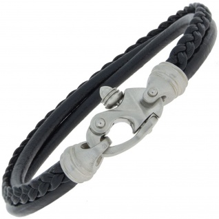 Armband 3-reihig Leder schwarz und Edelstahl matt 21 cm