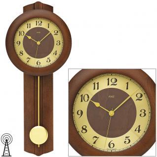 AMS 5165/1 Wanduhr Funk Funkwanduhr mit Pendel golden Holz nussbaum farben
