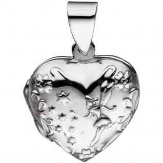Medaillon Herz für 2 Fotos 925 Sterling Silber Anhänger zum Öffnen - Vorschau 4