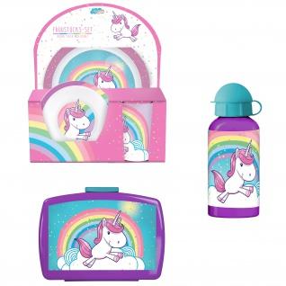 EINHORN Frühstücks-Set für Kinder Kindergeschirr Trinkflasche Brotdose