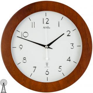 AMS 5842 Wanduhr Funk Funkwanduhr analog rund Rahmen aus Holz nussbaum furniert