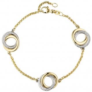 01bcd74f5652 Armband 585 Gold Gelbgold Weißgold bicolor 81 Diamanten Brillanten 18 cm