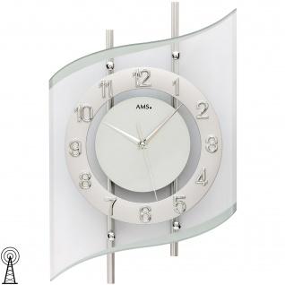 AMS 5506 Wanduhr Funk Funkwanduhr analog silbern modern geschwungen mit Glas