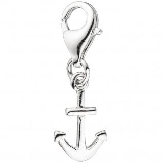 Einhänger Charm Anker 925 Sterling Silber rhodiniert Karabiner