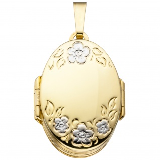 Medaillon oval mit Blumen Muster 333 Gold Gelbgold zum Öffnen für 6 Fotos