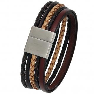 Armband Leder mehrfarbig mit mattiertem Edelstahl 20 cm Lederarmband breit