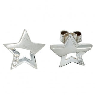Kinder Ohrstecker Stern Sterne 925 Sterling Silber mattiert 4 Zirkonia Ohrringe