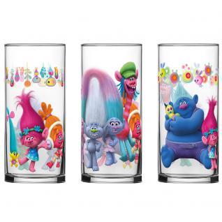 TROLLS Kinder Gläser-Set 3 verschiedene Gläser 290 ml im Geschenkkarton