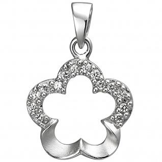 Anhänger Blume 925 Sterling Silber 14 Zirkonia Silberanhänger