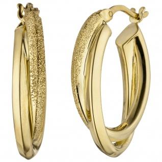 Creolen oval 925 Sterling Silber gold vergoldet matt Ohrringe