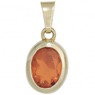 Anhänger oval 585 Gold Gelbgold 1 Feueropal rot Goldanhänger Opalanhänger